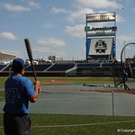 Florida Gators right fielder Nelson Maldonado takes some swings before the Gators take on the LSU Tigers in game two of the CWS finals. GatorCountry photo taken by Nick de la Torre.
