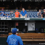 Florida Gators outfielder Nick Horvath signs autographs before the Gators take on the LSU Tigers in game two of the CWS finals. GatorCountry photo taken by Nick de la Torre.