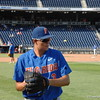 Garrett Milchin warming up before the Florida Gators game against the Louisville Cardinals at the 2017 College World Series.