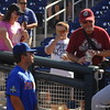 Nick Horvath talks with fans before the Florida Gators game against Louisville.