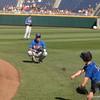 Dalton Guthrie plays catch with Finn O'Sullivan.