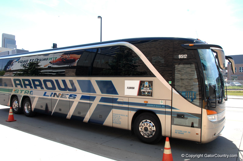 The Florida Gators bus arrives at TD Ameritrade Park.