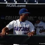 Florida Gators pitcher Andrew Baker prepares for the opening game against TCU in the 2017 College World Series. June 18th, 2017. GatorCountry photo taken by Nick de la Torre.