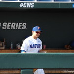 Florida Gators outfielder Austin Langworthy prepares for the opening game against TCU in the 2017 College World Series. June 18th, 2017. GatorCountry photo taken by Nick de la Torre.