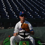 Florida Gators shortstop Dalton Guthrie prepares for the opening game against TCU in the 2017 College World Series. June 18th, 2017. GatorCountry photo taken by Nick de la Torre.