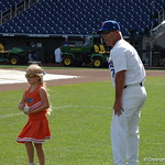 Florida Gators baseball coach Kevin O'Sullivan and his daughter as the Gators prepare for their opening game against TCU in the 2017 College World Series. June 18th, 2017. GatorCountry photo taken by Nick de la Torre.