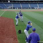 The TCU baseball team prepares for their opening game against Florida in the 2017 College World Series. June 18th, 2017. GatorCountry photo taken by Nick de la Torre.