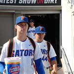 Florida Gators pitcher David Lee enters the stadium for the opening game against TCU in the 2017 College World Series. June 18th, 2017. GatorCountry photo taken by Nick de la Torre.