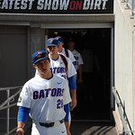 Florida Gators catcher Mark Kolozsvary enters the stadium for the opening game against TCU in the 2017 College World Series. June 18th, 2017. GatorCountry photo taken by Nick de la Torre.