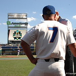 Florida Gators baseball coach Kevin O'Sullivan prepares for the opening game against TCU in the 2017 College World Series. June 18th, 2017. GatorCountry photo taken by Nick de la Torre.