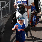 Florida Gators coach Kevin O'Sullivan's son enters the stadium for the opening game against TCU in the 2017 College World Series. June 18th, 2017. GatorCountry photo taken by Nick de la Torre.
