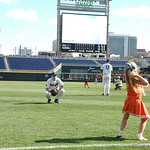 Florida Gators first baseman JJ Schwarz catches Kevin O'Sullivan's daughter's pitch as the Gators prepare for their opening game against TCU in the 2017 College World Series. June 18th, 2017. GatorCountry photo taken by Nick de la Torre.