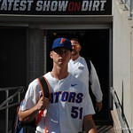 Florida Gators pitcher Brady Singer enters the stadium for the opening game against TCU in the 2017 College World Series. June 18th, 2017. GatorCountry photo taken by Nick de la Torre.