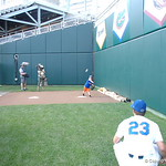 Florida Gators coach Kevin O'Sullivan's son plays catch with Nate Brown as the Gators prepare for their opening game against TCU in the 2017 College World Series. June 18th, 2017. GatorCountry photo taken by Nick de la Torre.