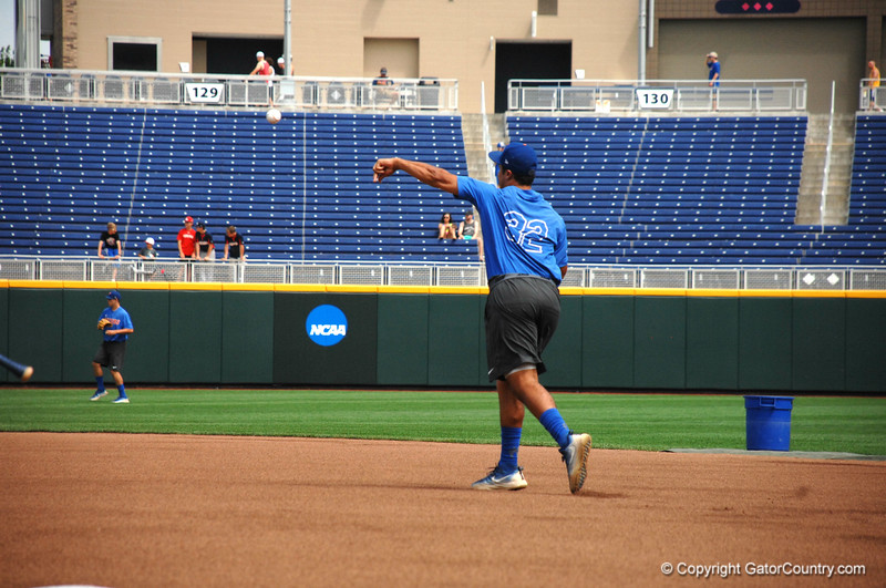 Keenan Bell throws a ball to second base during practice.