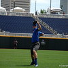 Florida Gators sophomore Brady Singer warming up.