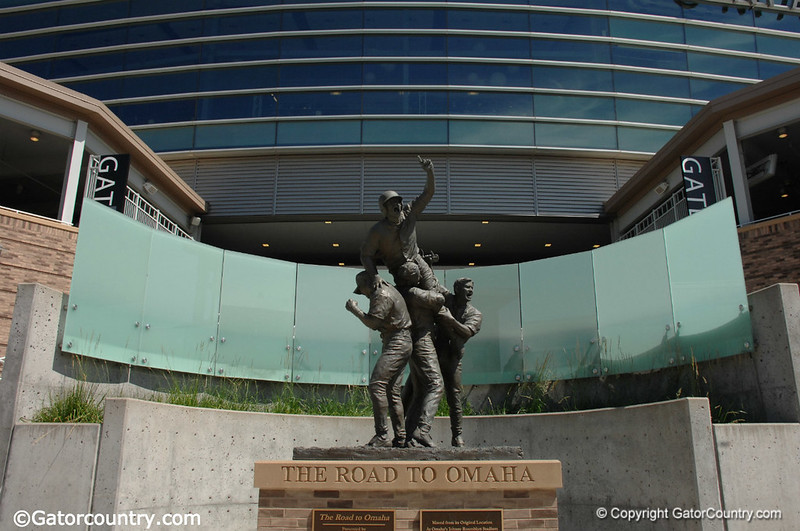 The Road to Omaha sculpture outside of TD Ameritrade Park, home of the College World Series.