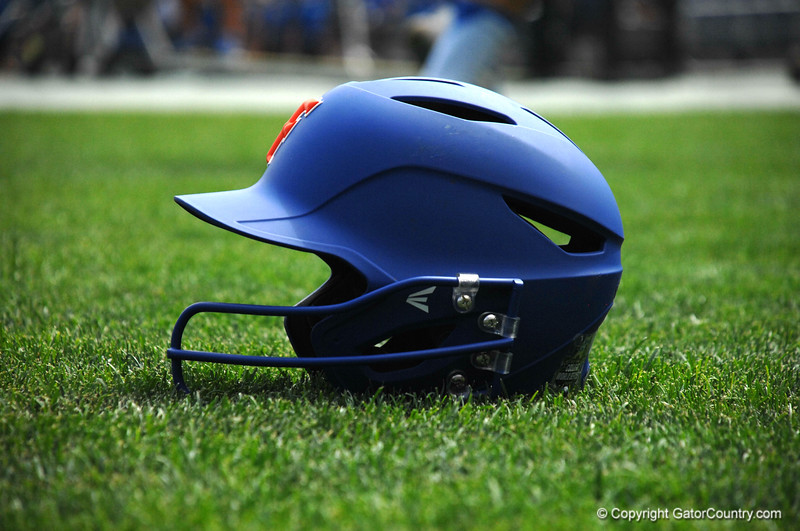 Ryan Larson's batting helmet with a new metal piece to protect his chin.
