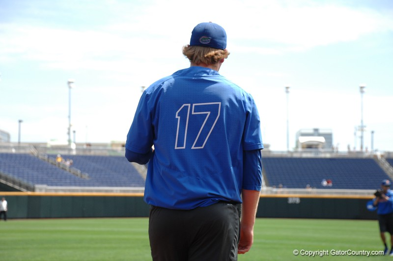 Florida Gators sophomore closer MIchael Byrne playing catch before practice at the College World Series.