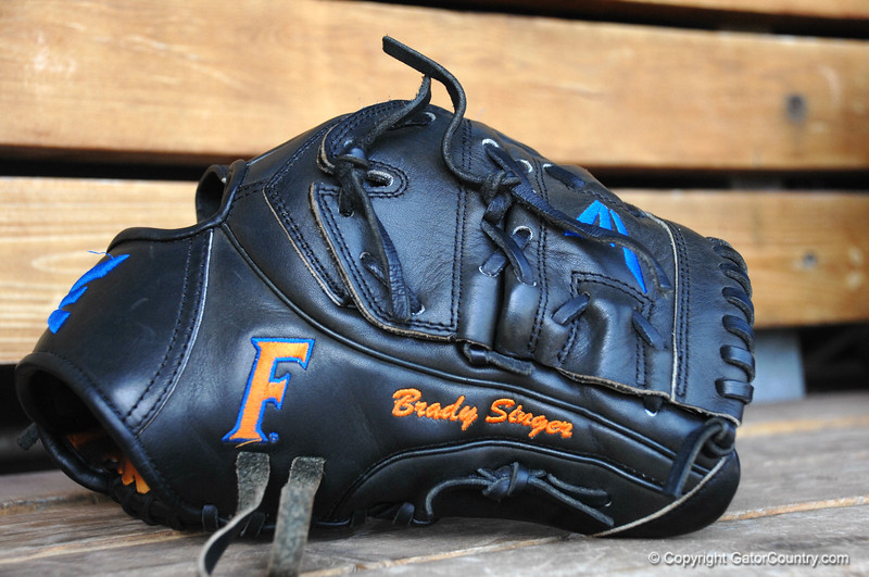 Florida Gators pitcher Brady Singer's glove.