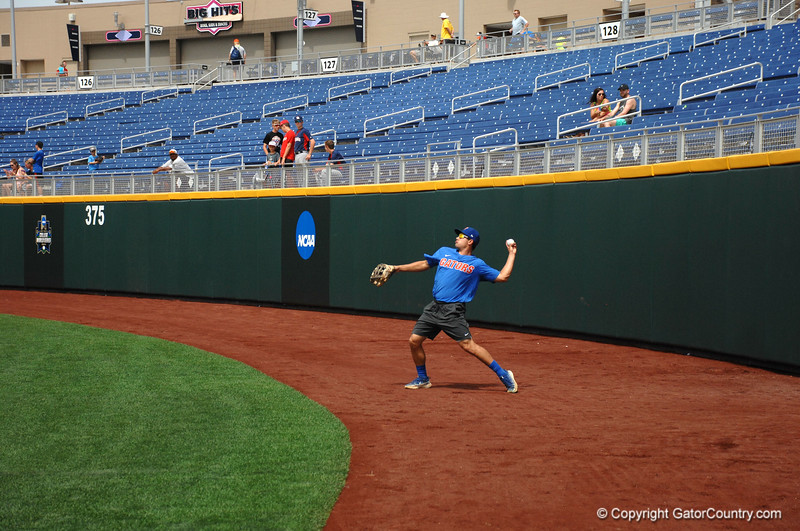 Nick Horvath throws a ball back into the infield during practice.