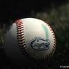 A baseball with the Florida Gators logo at TD Ameritrade Park.