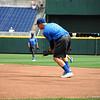 JJ Schwarz field a ground ball during practice.