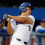 University of Florida Gators outfielder Keenan Bell swings away at a pitch as the Gators host and defeat the Florida State Seminoles 1-0 at McKethan Stadium. March 14th, 2017. Gator Country photo by David Bowie.
