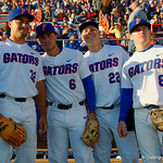 University of Florida Gators outfielder Keenan Bell,University of Florida Gators infielder Jonathan India,University of Florida Gators catcher JJ Schwarz and University of Florida Gators infielder Deacon Liput prior to taking the field as the Gators host and defeat the Florida State Seminoles 1-0 at McKethan Stadium. March 14th, 2017. Gator Country photo by David Bowie.