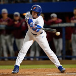 University of Florida Gators infielder Deacon Liput swings and misses as the Gators host and defeat the Florida State Seminoles 1-0 at McKethan Stadium. March 14th, 2017. Gator Country photo by David Bowie.