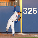 University of Florida Gators outfielder Nelson Maldonado sprints and catches a fly ball as the Gators host and defeat the Florida State Seminoles 1-0 at McKethan Stadium. March 14th, 2017. Gator Country photo by David Bowie.