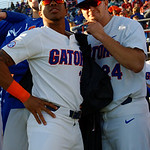 University of Florida Gators pitcher Andrew Baker and University of Florida Gators pitcher Cam Weinberger get ready to take the field as the Gators host and defeat the Florida State Seminoles 1-0 at McKethan Stadium. March 14th, 2017. Gator Country photo by David Bowie.