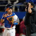 University of Florida Gators catcher Mike Rivera looks to the dugout as the Gators host and defeat the Florida State Seminoles 1-0 at McKethan Stadium. March 14th, 2017. Gator Country photo by David Bowie.