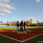 University of Florida Gators baseball head coach Kevin O'Sullivan and FSU head coach Mike Martin meet at home plate as the Gators host and defeat the Florida State Seminoles 1-0 at McKethan Stadium. March 14th, 2017. Gator Country photo by David Bowie.