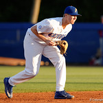University of Florida Gators infielder Christian Hicks getting set in the infield for the pitch as the Gators host and defeat the Florida State Seminoles 1-0 at McKethan Stadium. March 14th, 2017. Gator Country photo by David Bowie.