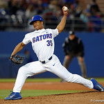 University of Florida Gators pitcher Andrew Baker pitching in relief as the Gators host and defeat the Florida State Seminoles 1-0 at McKethan Stadium. March 14th, 2017. Gator Country photo by David Bowie.