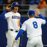 University of Florida Gators infielder Jonathan India and University of Florida Gators infielder Deacon Liput celebrate after India comes across home to put the Gators up 1-0, as the Gators host and defeat the Florida State Seminoles 1-0 at McKethan Stadium. March 14th, 2017. Gator Country photo by David Bowie.