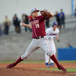 Florida State Seminoles pitcher Andrew Karp pitching as the Gators host and defeat the Florida State Seminoles 1-0 at McKethan Stadium. March 14th, 2017. Gator Country photo by David Bowie.