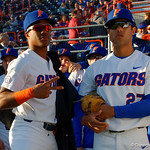 University of Florida Gators pitcher Andrew Baker and University of Florida Gators outfielder Nelson Maldonado get ready to take the field as the Gators host and defeat the Florida State Seminoles 1-0 at McKethan Stadium. March 14th, 2017. Gator Country photo by David Bowie.
