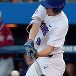 University of Florida Gators infielder Christian Hicks swngs at a pitch as the Gators host and defeat the Florida State Seminoles 1-0 at McKethan Stadium. March 14th, 2017. Gator Country photo by David Bowie.
