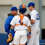 University of Florida Gators baseball head coach Kevin O'Sullivan comes out to talk to University of Florida Gators pitcher Nate Brown as the Gators host and defeat the Florida State Seminoles 1-0 at McKethan Stadium. March 14th, 2017. Gator Country photo by David Bowie.