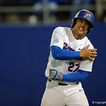 University of Florida Gators outfielder Nelson Maldonado after being hit in the shoulder by a pitch as the Gators host and defeat the Florida State Seminoles 1-0 at McKethan Stadium. March 14th, 2017. Gator Country photo by David Bowie.