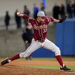 Florida State Seminoles pitcher Cal Raleigh on in relief as the Gators host and defeat the Florida State Seminoles 1-0 at McKethan Stadium. March 14th, 2017. Gator Country photo by David Bowie.