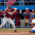University of Florida Gators catcher Mike Rivera behind home plate as the Gators host and defeat the Florida State Seminoles 1-0 at McKethan Stadium. March 14th, 2017. Gator Country photo by David Bowie.