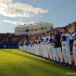 The Florida Gators baseball team lines up for the national anthem as the Gators host and defeat the Florida State Seminoles 1-0 at McKethan Stadium. March 14th, 2017. Gator Country photo by David Bowie.