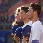 University of Florida Gators infielder Jonathan India during the national anthem as the Gators host and defeat the Florida State Seminoles 1-0 at McKethan Stadium. March 14th, 2017. Gator Country photo by David Bowie.