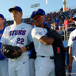University of Florida Gators catcher JJ Schwarz and University of Florida Gators pitcher Andrew Baker prepare to take the field as the Gators host and defeat the Florida State Seminoles 1-0 at McKethan Stadium. March 14th, 2017. Gator Country photo by David Bowie.