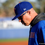 University of Florida Gators baseball head coach Kevin O'Sullivan walking back to the dugout as the Gators host and defeat the Florida State Seminoles 1-0 at McKethan Stadium. March 14th, 2017. Gator Country photo by David Bowie.