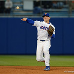 University of Florida Gators infielder Deacon Liput throwing to first base as the Gators host and defeat the Florida State Seminoles 1-0 at McKethan Stadium. March 14th, 2017. Gator Country photo by David Bowie.