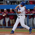 University of Florida Gators outfielder Keenan Bell swinging away at a pitch as the Gators host and defeat the Florida State Seminoles 1-0 at McKethan Stadium. March 14th, 2017. Gator Country photo by David Bowie.
